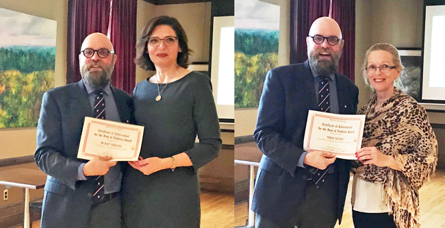 Dean of Students, Christopher Buddle presents Alice Cherestes (left) and Teresa Zatylny with the Dean of Students Award for Excellence in Undergraduate Academic Advising. / Photos: Ashley Karekaho